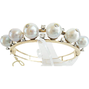 "Very Fine Estate 14KARAT Pearl and Diamond Bangle Bracelet ""BEAUTIFUL"""