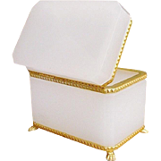 """Antique French White Opaline Casket Hinged Box """" Bronze Mounts & Paw Feet"""" EXQUISITE"""