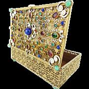 "Antique Austrian Bronze Enamel Jeweled Hinged Box ""MAGNIFICENT"""