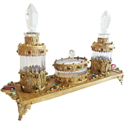 "Exquisite Antique Jeweled German Perfume Vanity Set ""THREE PIECES"""