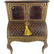 "LAYAWAY Lovely Miniature Leather Cabinet Desk "" Stenciled Leather """