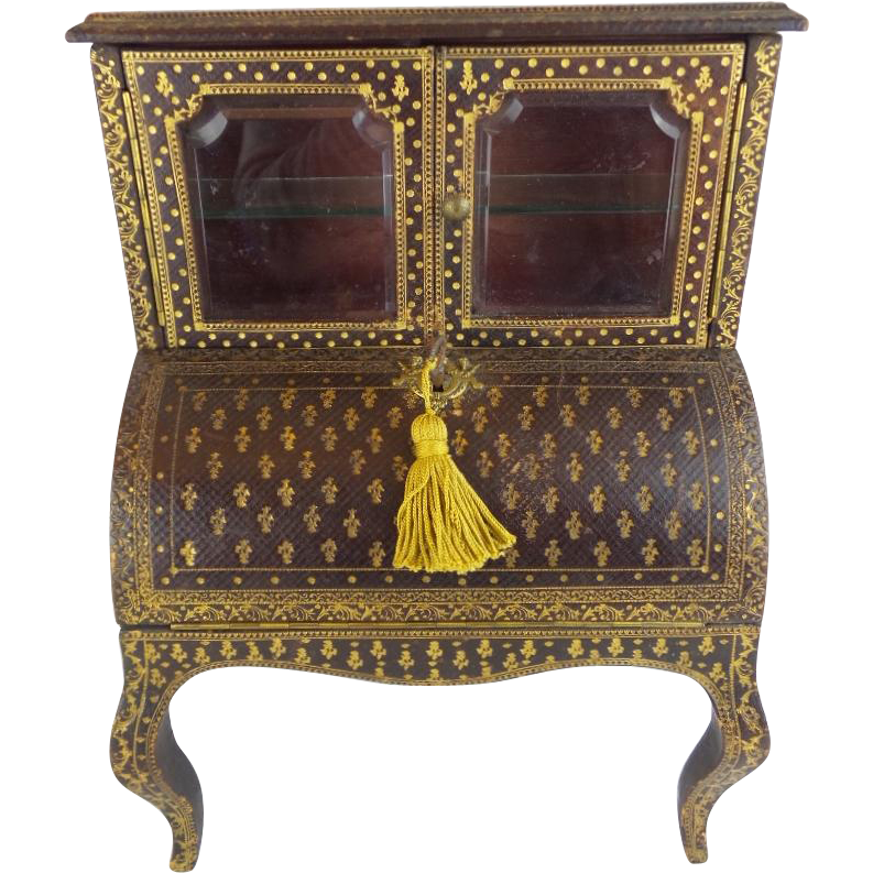 Layaway lovely miniature leather cabinet desk stenciled for Furniture layaway