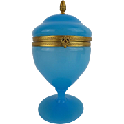 """Antique French Blue Opaline Hinged Box """"Pedestal Base & Ornate Gilt Mounts with Fancy Clasp"""""""
