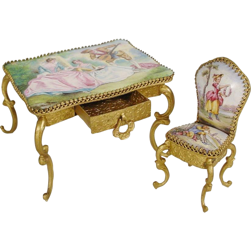 Antique AUSTRIA Enamel Table Desk and Chair
