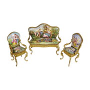 Antique Austria  Enamel Bronze Settee and Two Chairs