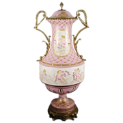 "Antique Sevres Style Double Handle ""PUTTI  S ""Porcelain Urn"