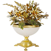 "Jane Hutcheson Jeweled Enamel Flowers ""White Opaline Paw Foot Vase"""