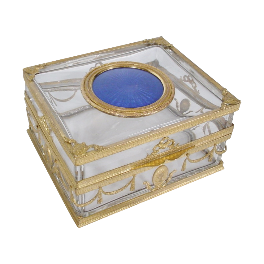 Magnificent Antique French Crystal Enamel Ormolu Casket Hinged Box