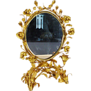 WWW. Antique French Gilt Ormolu Vanity Table Top Mirror