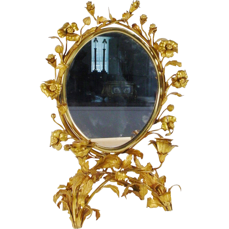 Antique French Gilt Ormolu Vanity Table Top Mirror