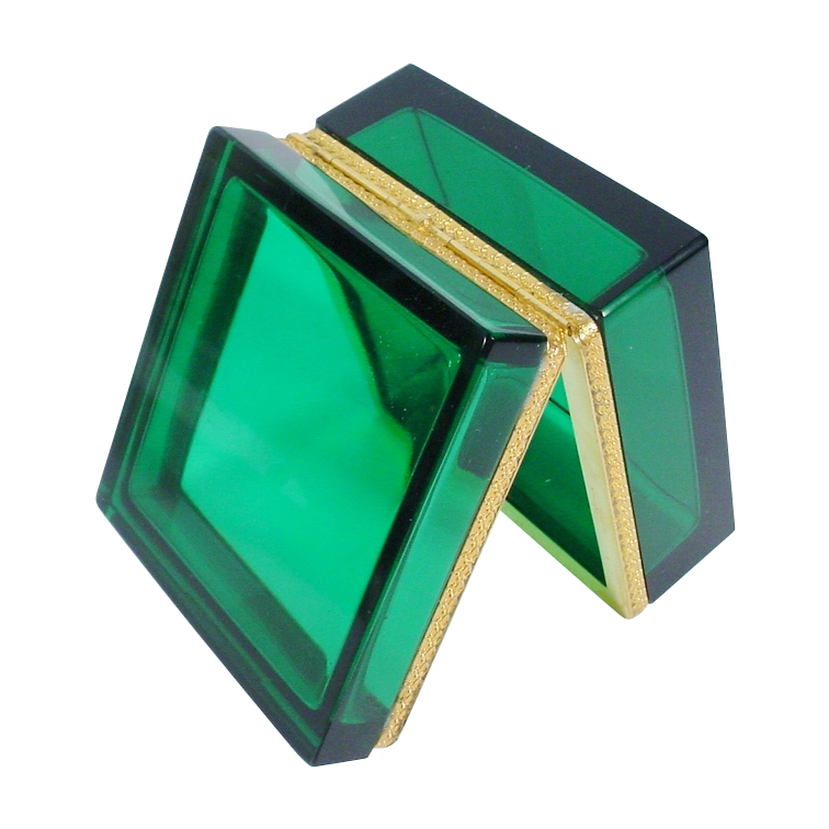 Beautiful Antique Emerald Green Crystal Hinged Box