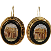 Beautiful Antique Victorian Era Italian Micro Mosaic Earrings