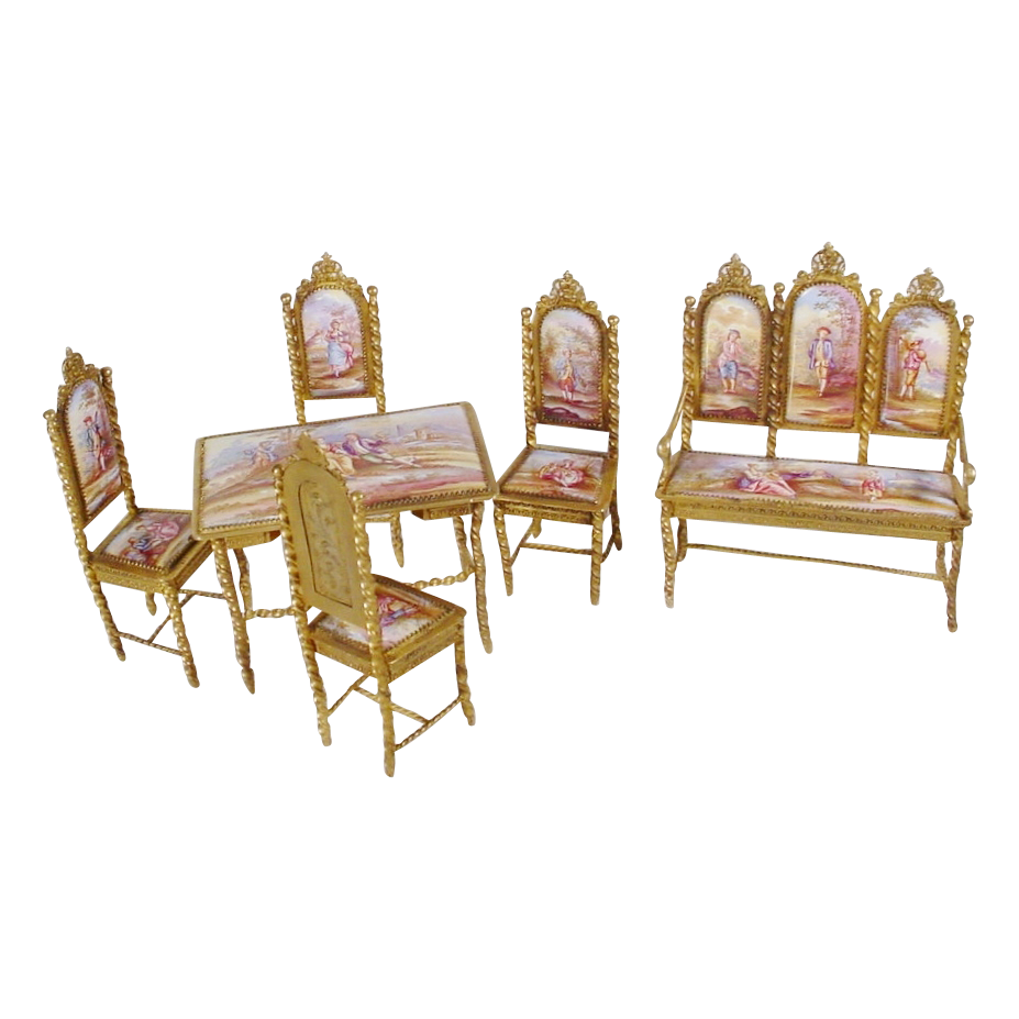 "Very Fine Antique Viennese Miniature Salon Set ""Six Pieces"""
