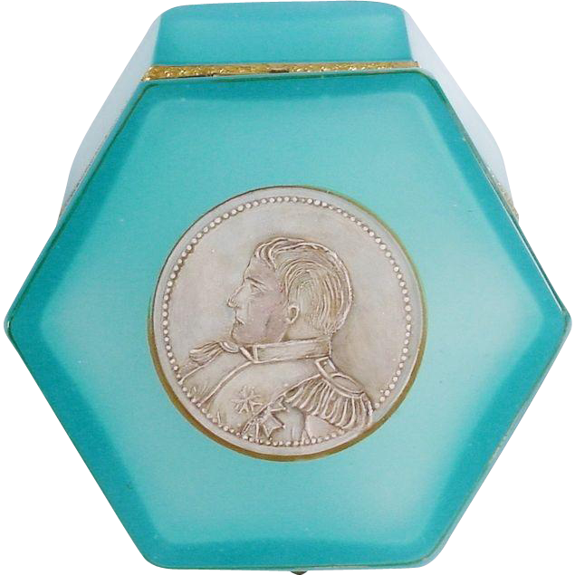 Beautiful Antique French Turquoise Opaline Casket Hinged Box