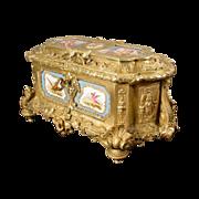 """15"""" Grandest Antique Bronze Casket Porcelain Plaques"""