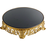 Vintage  French Brass Plateau with Black Crystal