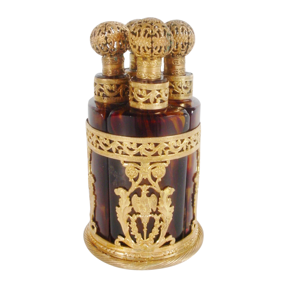 LAYAWAY Glorious Antique French Empire Tortoiseshell Glass Scent Caddy