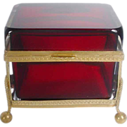 """Antique French Ruby Casket Hinged Box """"FABULOUS"""""""