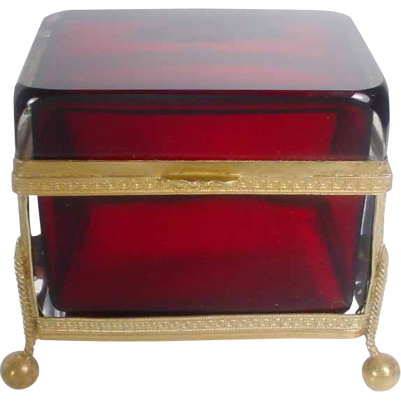 "Antique French Ruby Casket Hinged Box ""FABULOUS"""