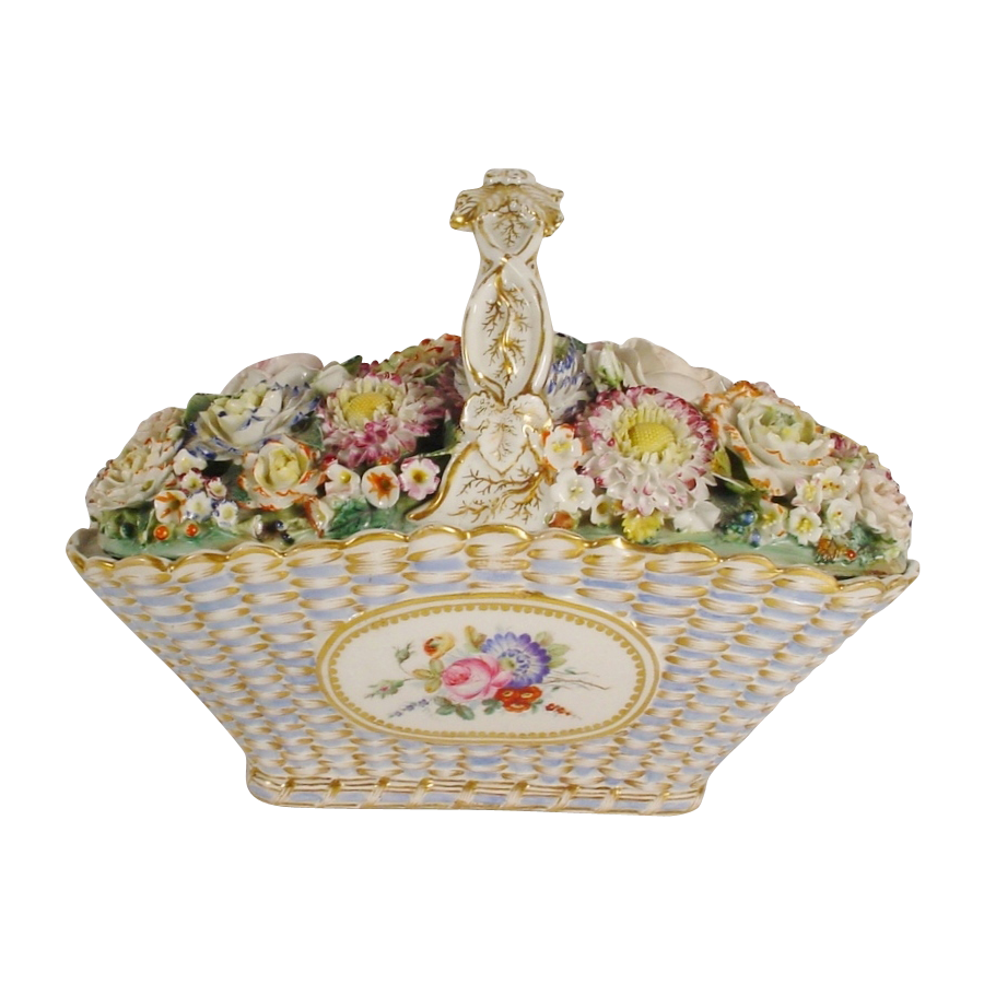 Magnificent Antique Coalbrookdale Porcelain Basket