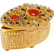 Antique  Austrian Jeweled RARE Shape Hinged Box