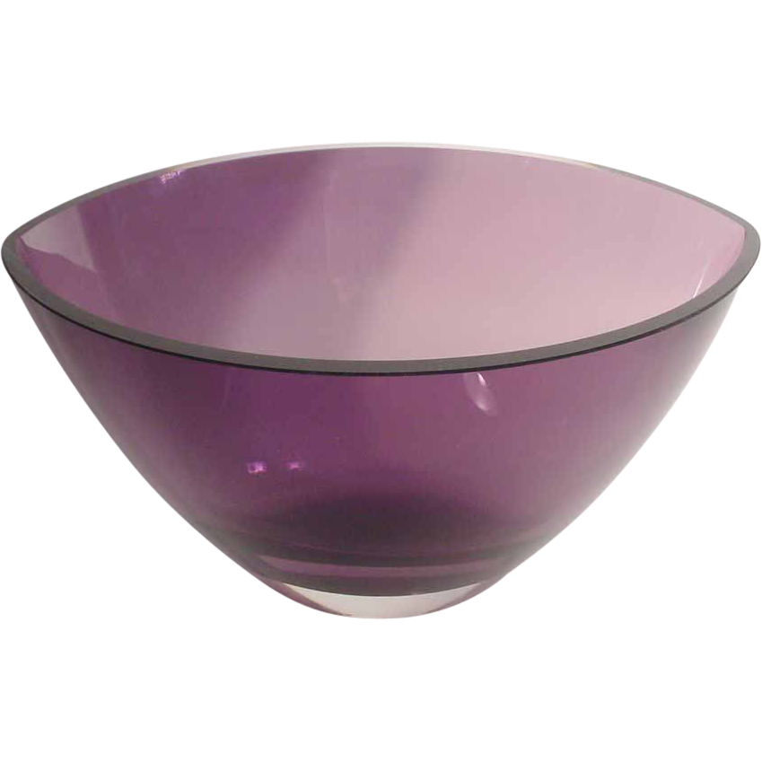 "Estate Purple Kosta Boda Contemporary ""RARE Shape"" Crystal Vase Bowl"