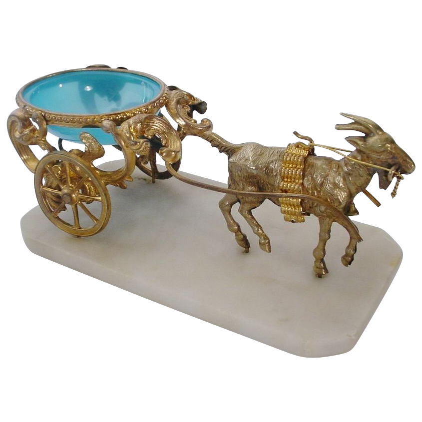 Antique Blue Opaline Goat Cart
