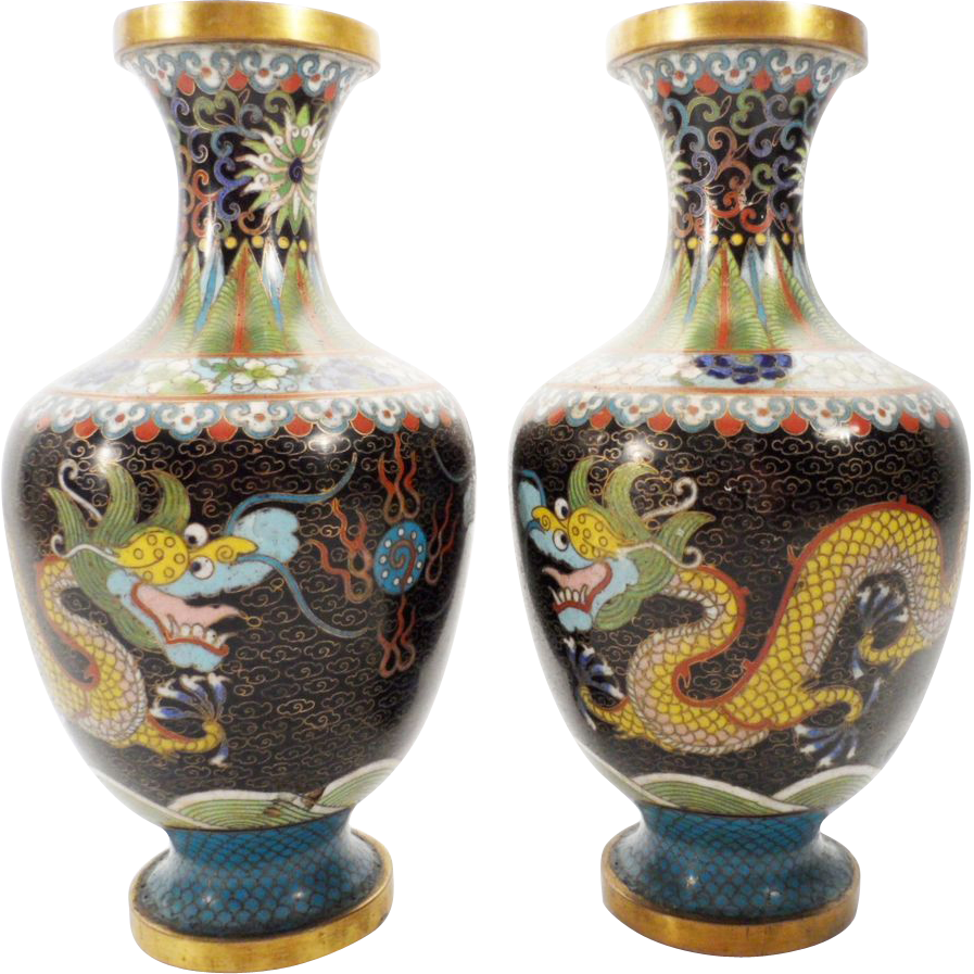 "Antique 8"" Chinese Cloisonné Vases ""DRAGONS"""