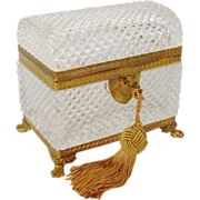 "Glorious Antique French ""Dome Top"" Cut Crystal Casket Hinged Box' Paw Feet"""