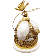 "Palais Royal Mother of Pearl and Gilt Ormolu Desk Bell ""Bird Finial"""