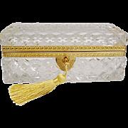 Antique French Cut Crystal Glove Box...Fabulous BIG Cut Crystal Glover Box