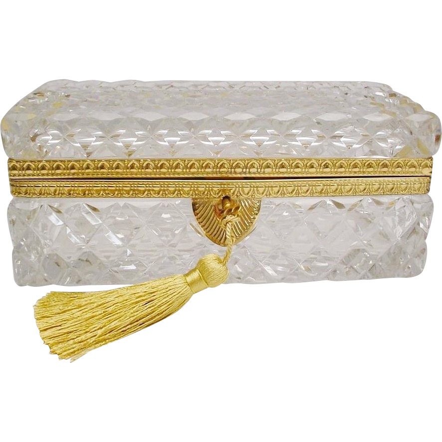 Antique French Cut Crystal Glove Box...Fabulous BIG Cut Crystal Glover Box