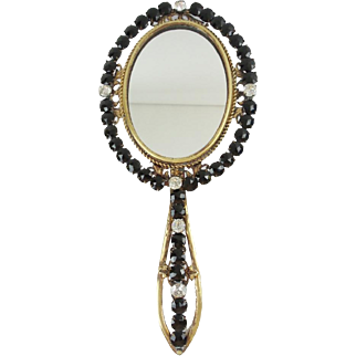 "Grandest Antique French Jeweled Hand Mirror ""JET & PASTE GEMS"""