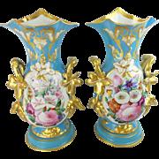 """14 ½""""  Antique French Porcelain Vases…An Exquisite Old Paris Masterpiece Pair"""