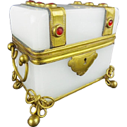 "Antique French Jeweled Opaline Casket Hinged Box  ""LUSCIOUS WHITE OPALINE"""