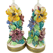 "Magnificent Pair  French Barbotine Style  Porcelain  Lamps ""AWESOME FLOWERS"""