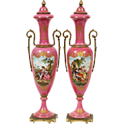 "Antique 17"" French Hand painted Porcelain Double Handle Vases ""LUSCIOUS PINK """