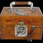 "19C Oak Pigeon Timer Clock Box  ""Constateur Plasschaert  Freres, Wachtebeke, Belgique, no. 20854"""