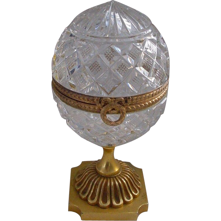 "Antique French Cut Crystal Casket Hinged Box""Ornate Bronze Pedestal """