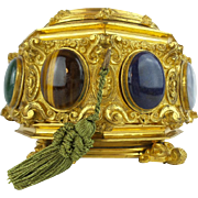 """Antique French Jeweled Dore' Bronze Hinged Box  w/ Eight Large Semi Precious Cabochons """"GLORIOUS"""""""