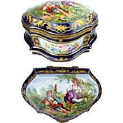 "Antique French Porcelain Artist Signed Casket Hinged Box "" Sevres Style  wMagnificent Pastoral Scenes"""