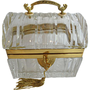 "Magnificent Antique French Crystal Casket ""DOME TOP w A HANDLE"""