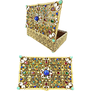 "1900 Austrian Bronze Enamel Jeweled Hinged Box ""FABULOUS"""