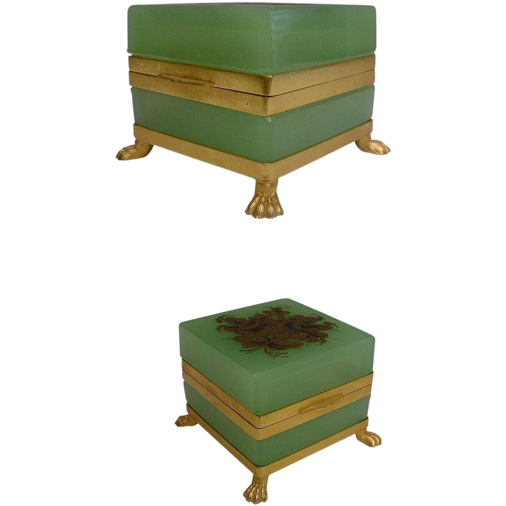 "Antique French Green Opaline Casket ""Paw Feet"""