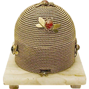 "Grandest  Antique French Dore"" Bronze Beehive Casket "" Scarab Agate Bees"""