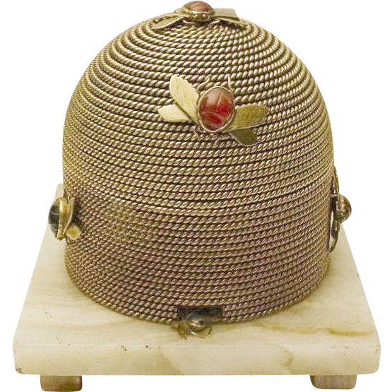 """Grandest  Antique French Dore"""" Bronze Beehive Casket """" Scarab Agate Bees"""""""