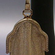 "German Antique Sterling Mesh Purse ""Sapphire Clasp"""
