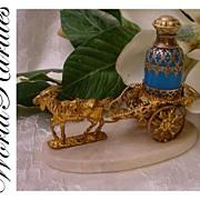 "Palais Royal Scent Caddy ""Goat Cart and Blue Opaline Scent Bottle"""