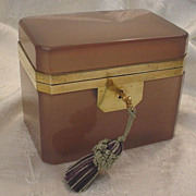 Antique French Pink Mauve Opaline Casket Hinged Box