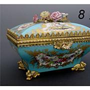 """Magnificent Antique Sevres Casket """"Porcelain Flowers"""" Awesome Dore' Bronze"""